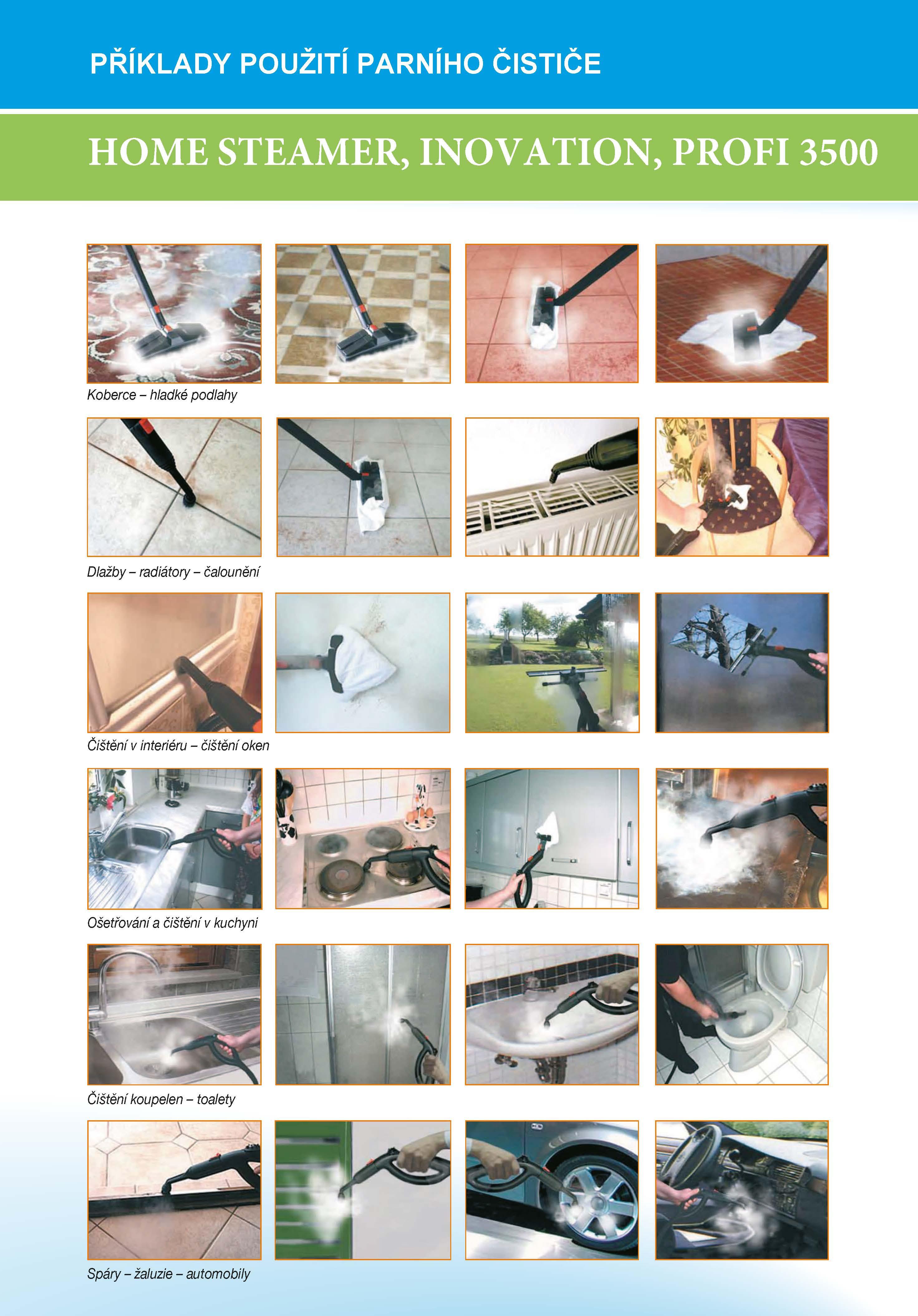 Příklady použití parního čističe Homesteamer Inovation Profi 3500 (3)